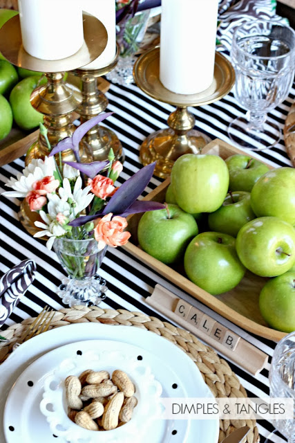 scrabble and stripes tablescape