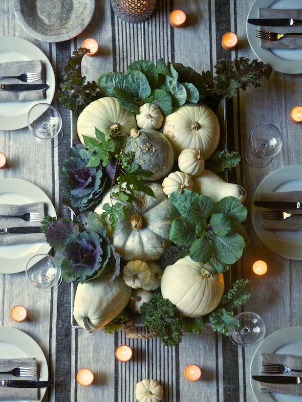 table centerpiece pumpkins stripes