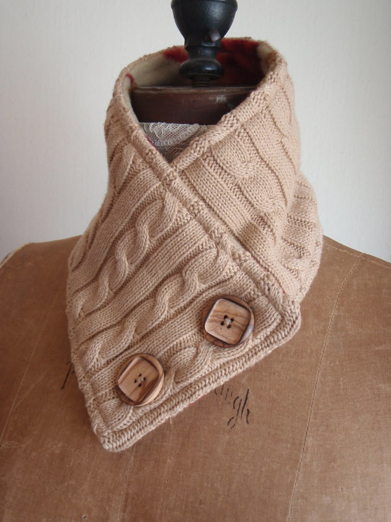 upcycled sweater cowl with buttons