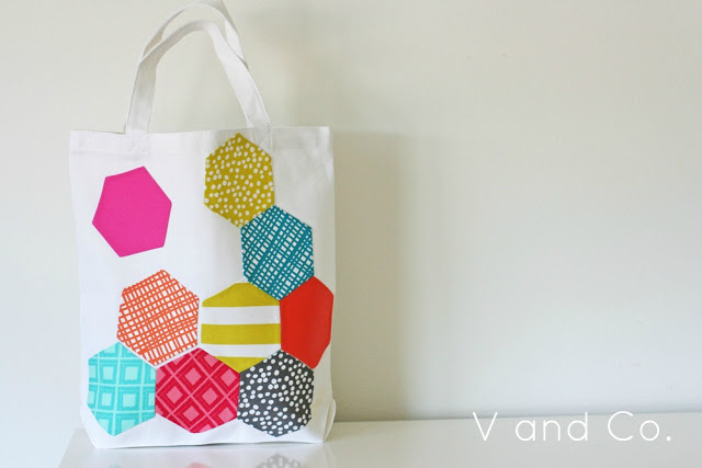 v and co hexagon applique bag header2