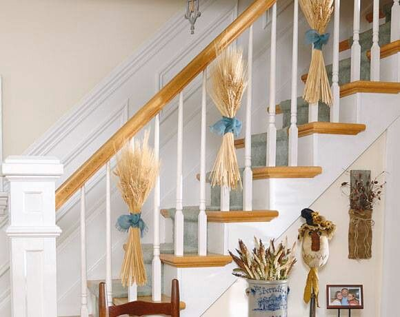 wheat staircase decor thanksgiving