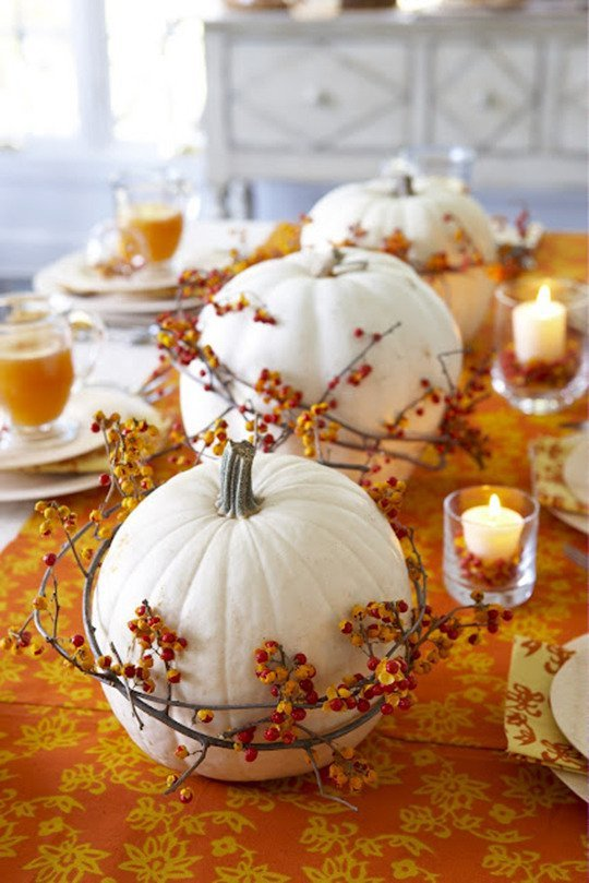 white pumpkin orange centerpiece