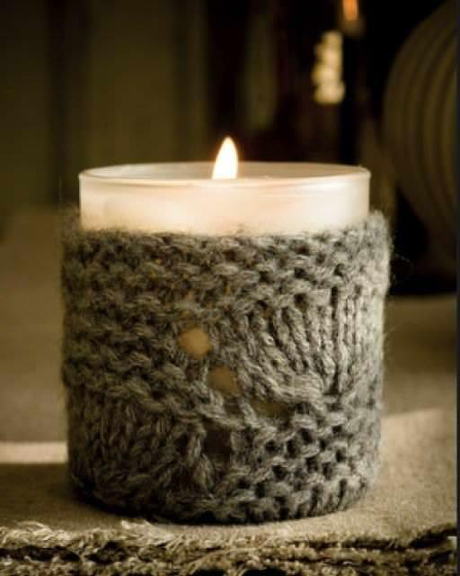 winter candle cozy