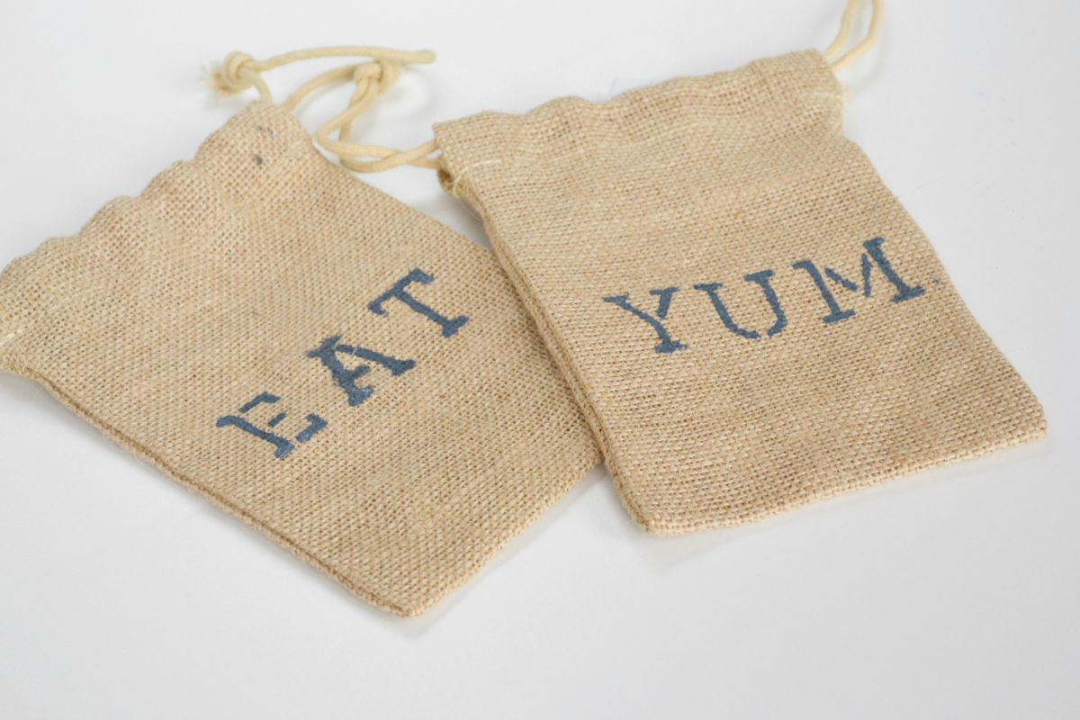 Burlap Utensil Holders - Eat - Yum