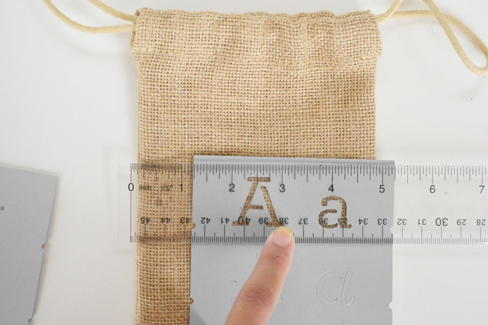 Burlap Utensil Holders - letter in the middle