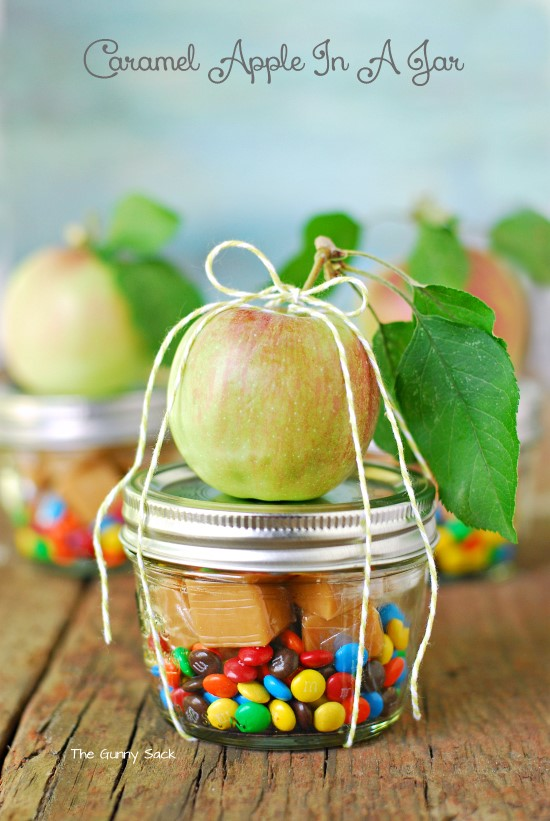 28 adorably charming diy teacher gifts caramel apple in a jar diy negle Image collections