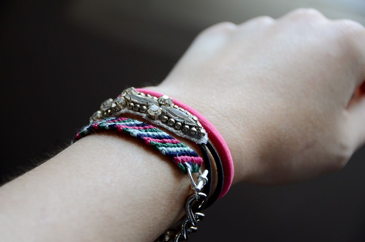 DIY Chain Embellished Friendship Bracelet