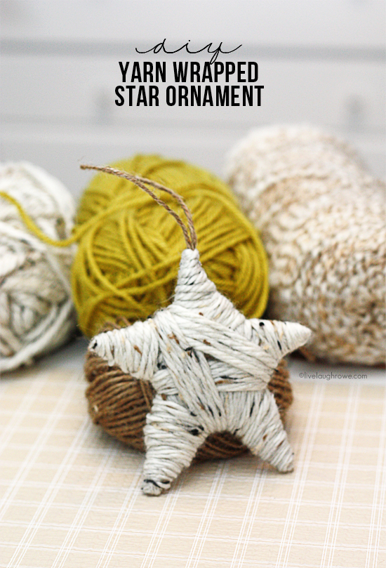 Easy DIY Yarn Wrapped Star Ornament. Great for gifting too.