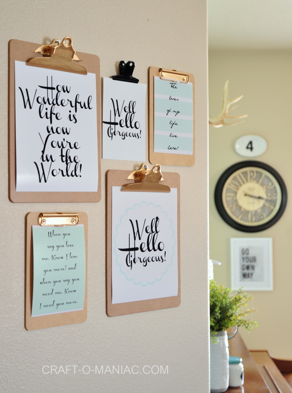 DIY Clipboard Wall Art