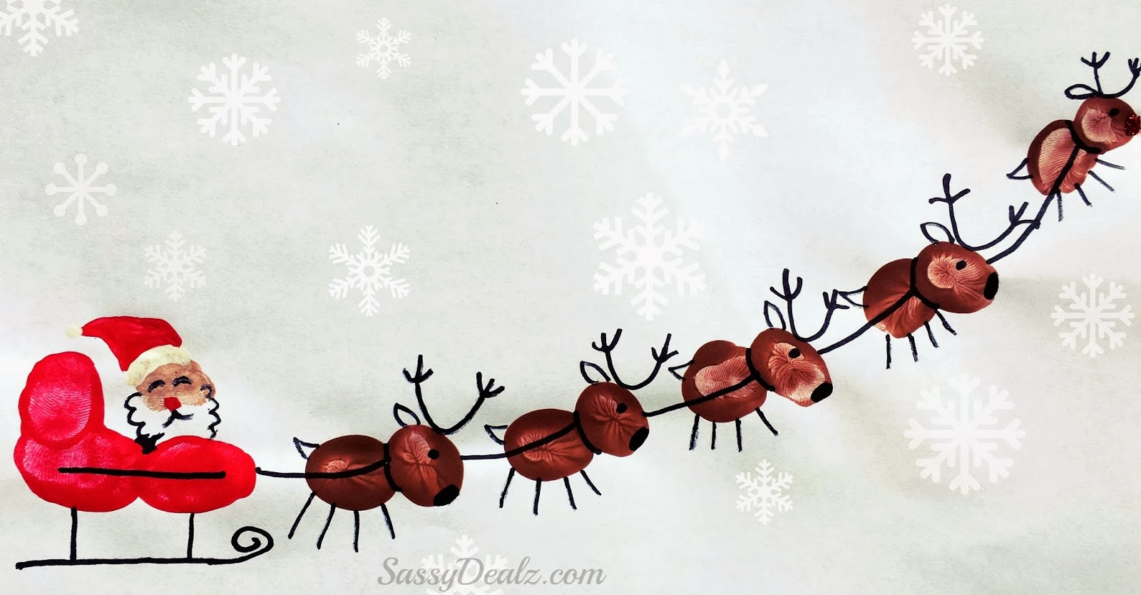 Fingerprint Reindeer Santa Art