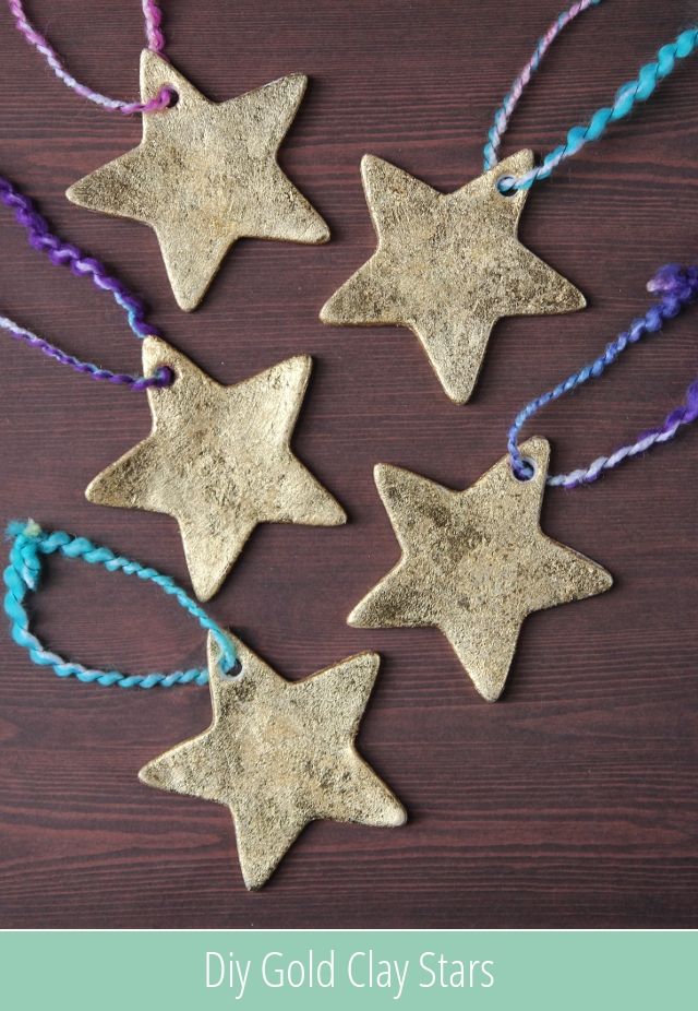 28 diy christmas crafts for kids diy gold clay star ornaments solutioingenieria Choice Image