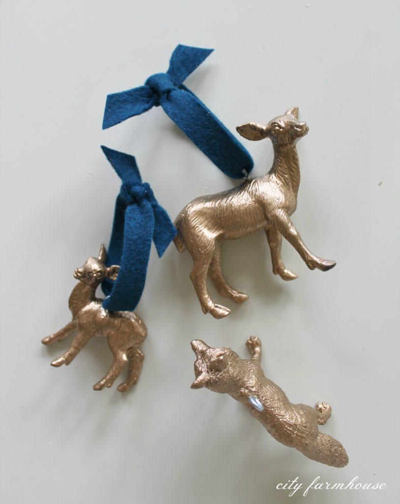 DIY Gold Gilded Woodland Ornaments