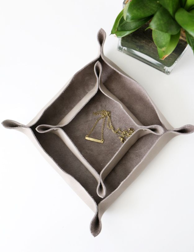 DIY Leather Catchall Top View