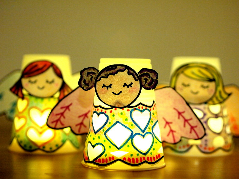 20 paper cup angel luminaries