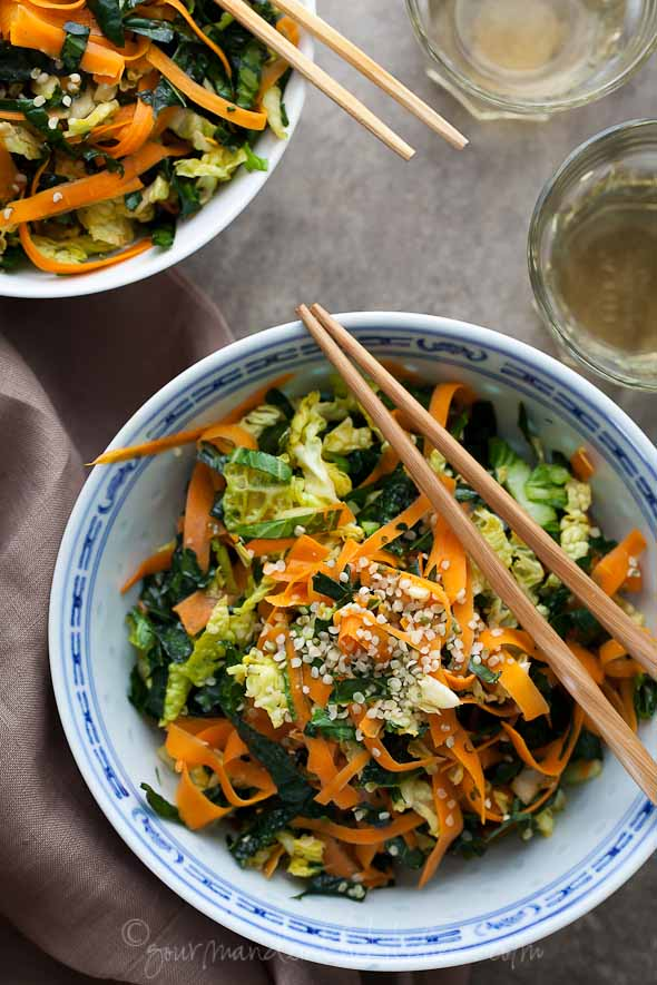 Kale Cabbage Carrot Winter Salad Recipe