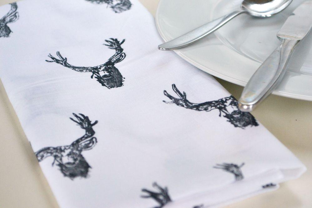 Modern Reindeer Stamped Napkins