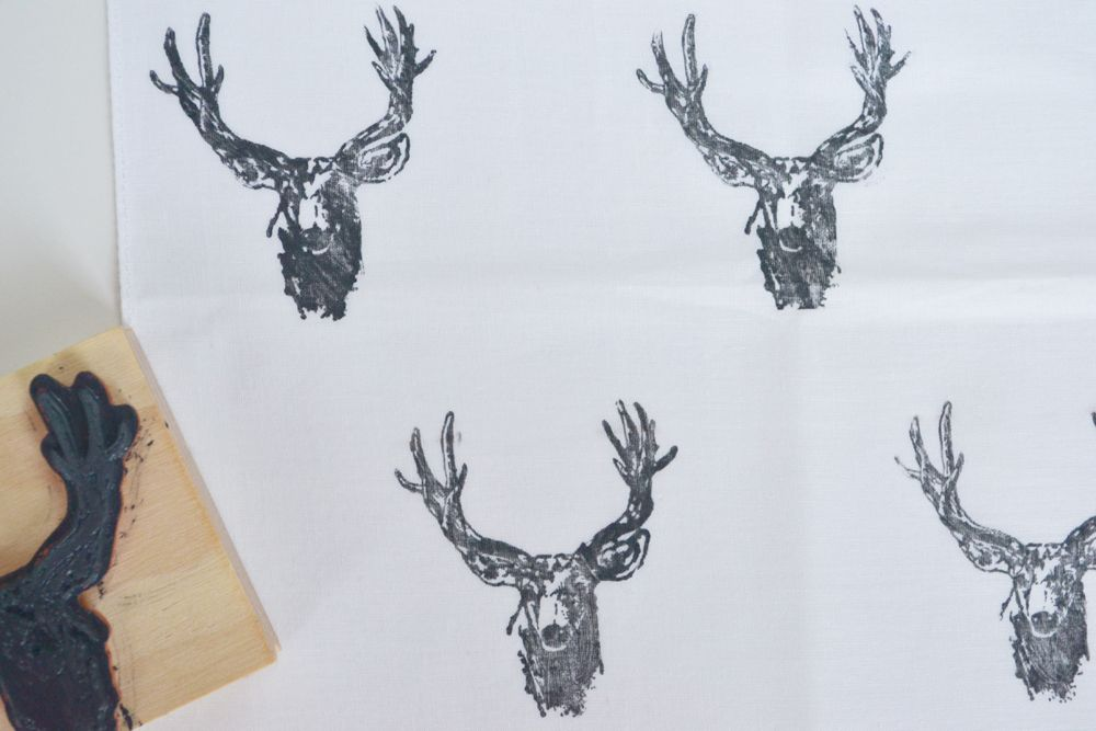 Reindeer Stamped Napkins - Closer