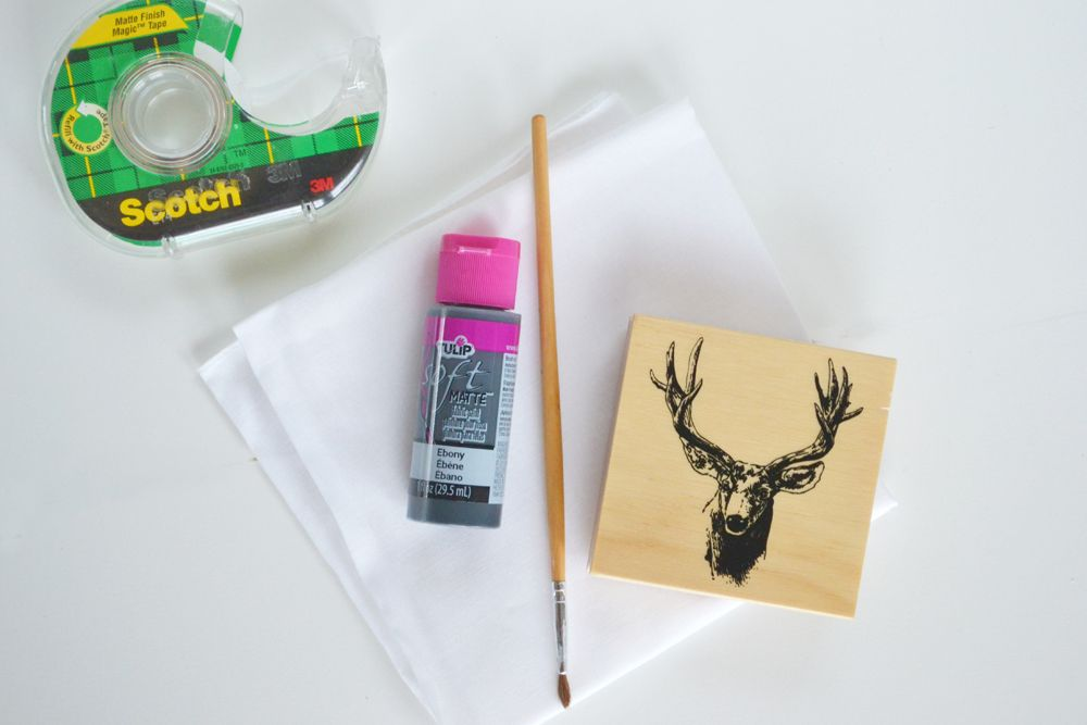 Reindeer Stamped Napkins - Materials