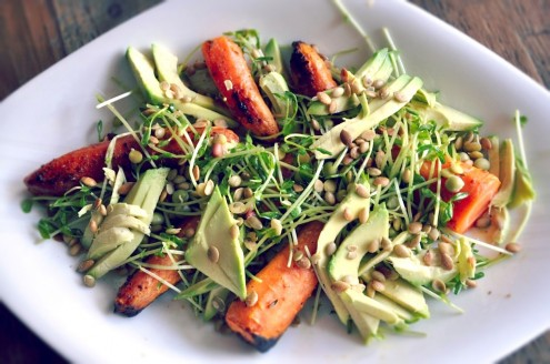 Roasted Carrot and Avocado Winter Salad Recipe