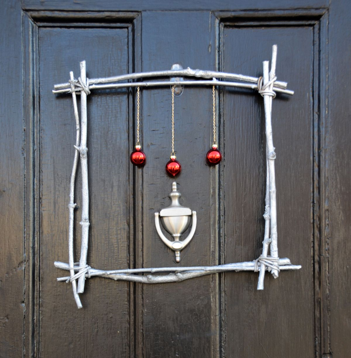 Silver Branch Christmas Wreath Front Door