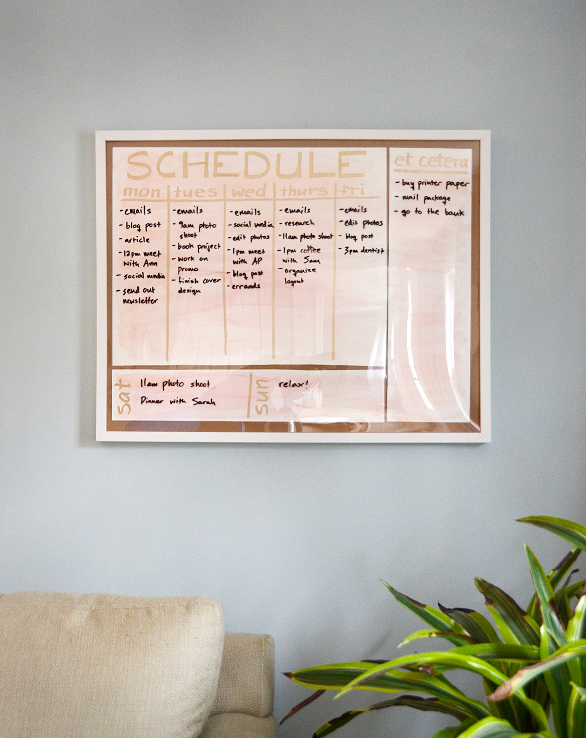 Watercolor Paper Wall Schedule Board – Photo Frame Project