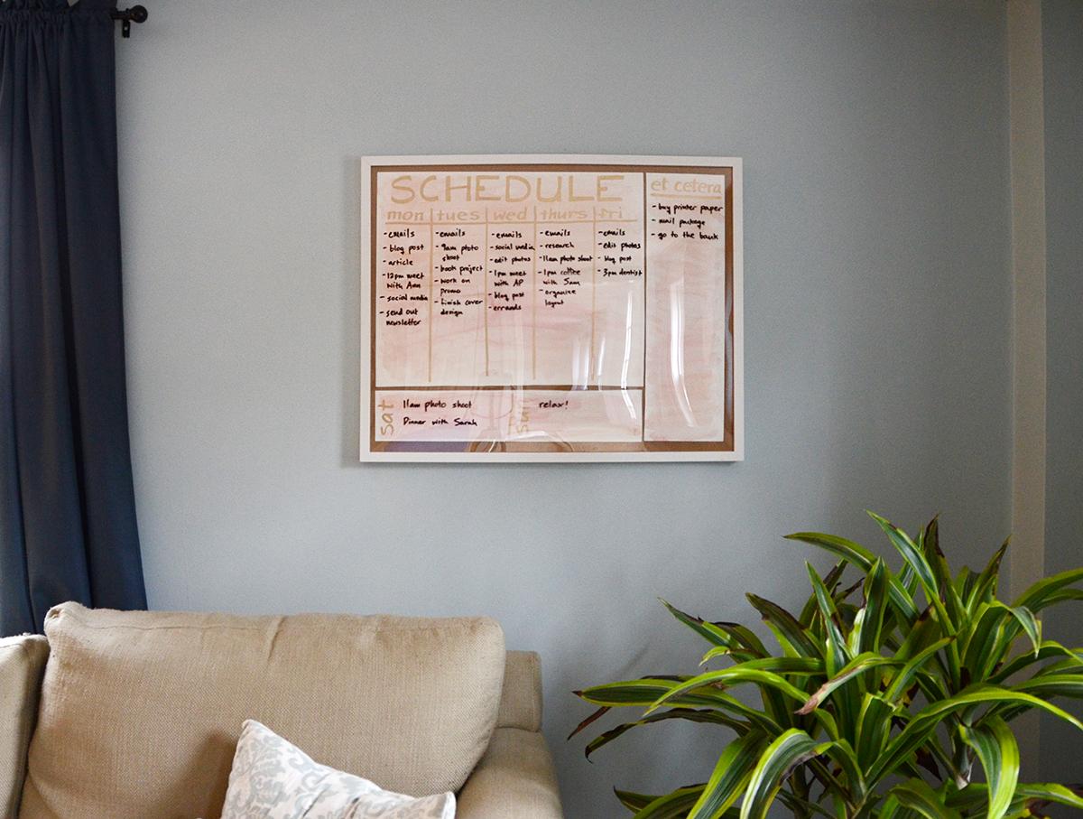 Living Room DIY Watercolor Wall Schedule
