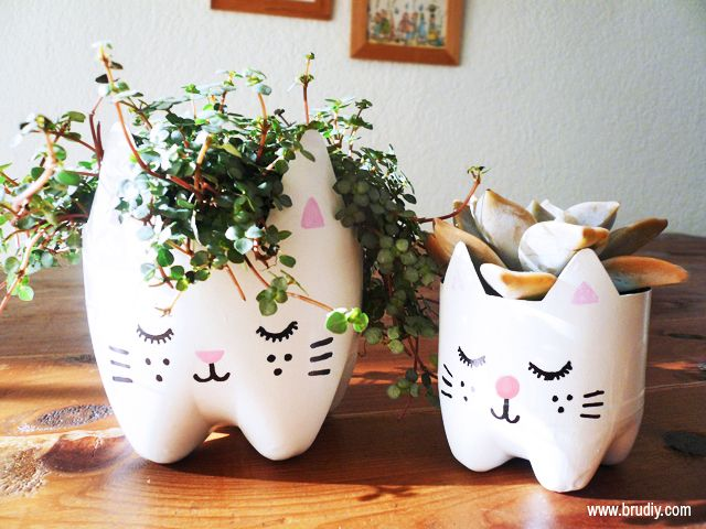 cat planter recycled