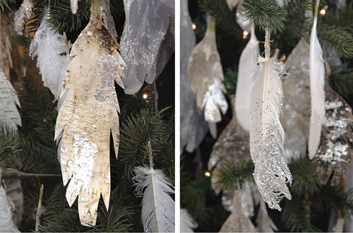 glitter dipped feather ornaments