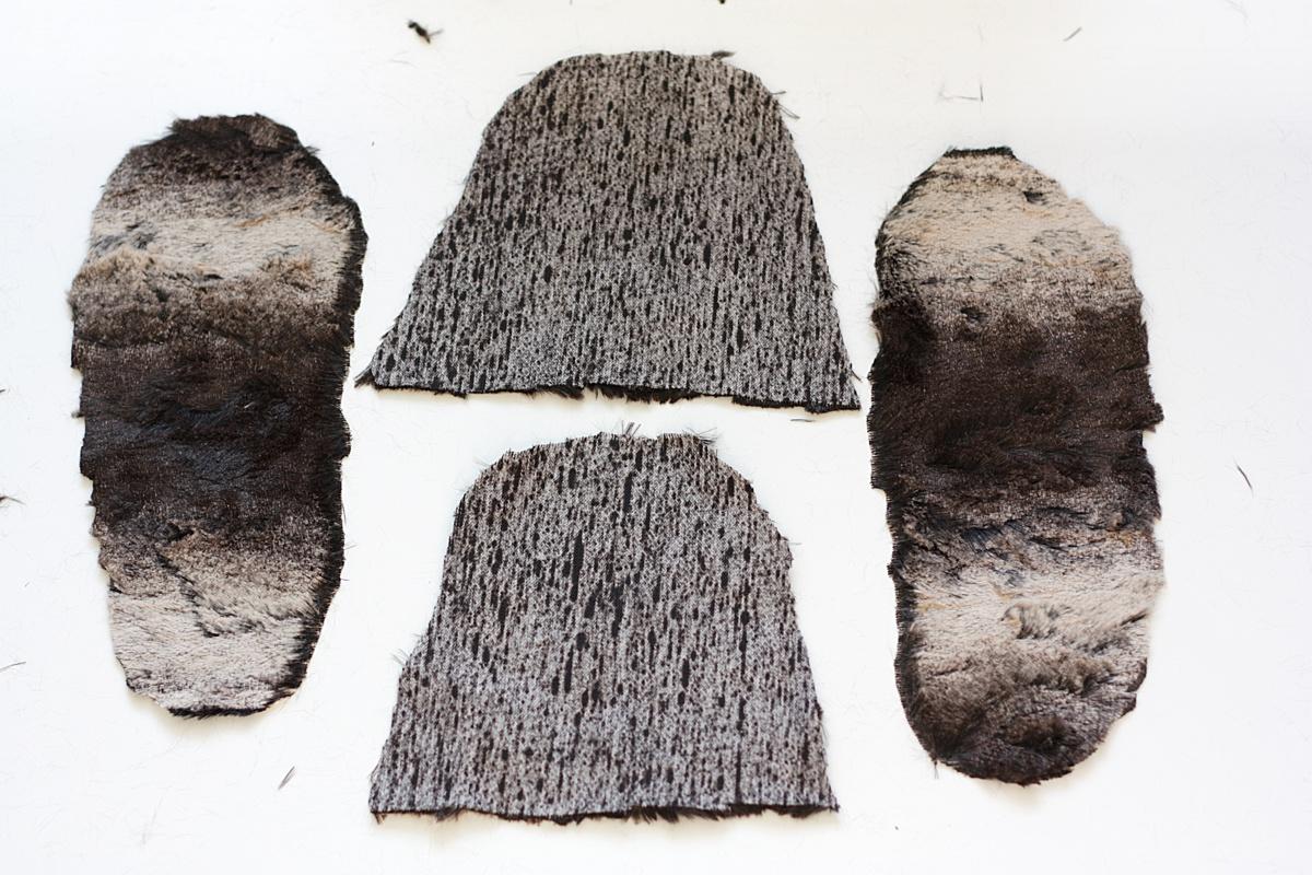 ikea hack faux fur slippers cut 2