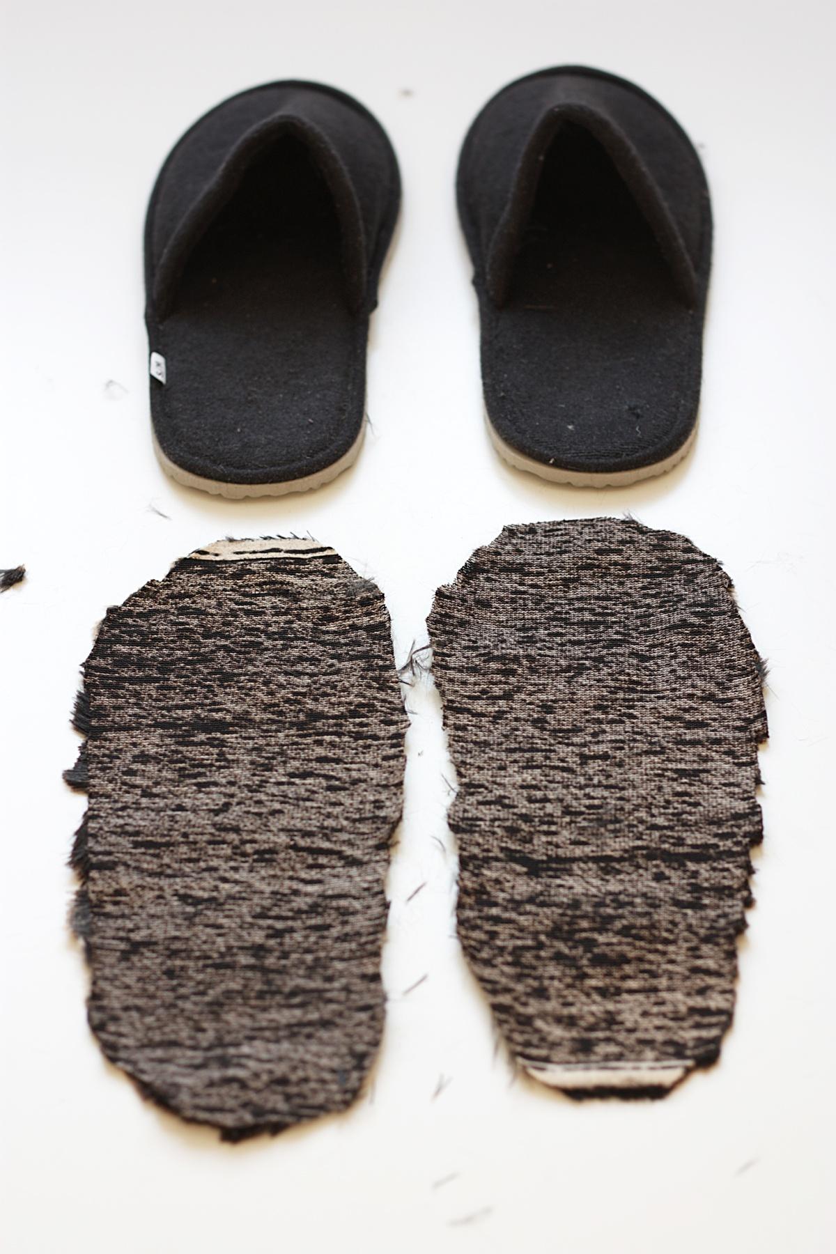 ikea hack faux fur slippers cut