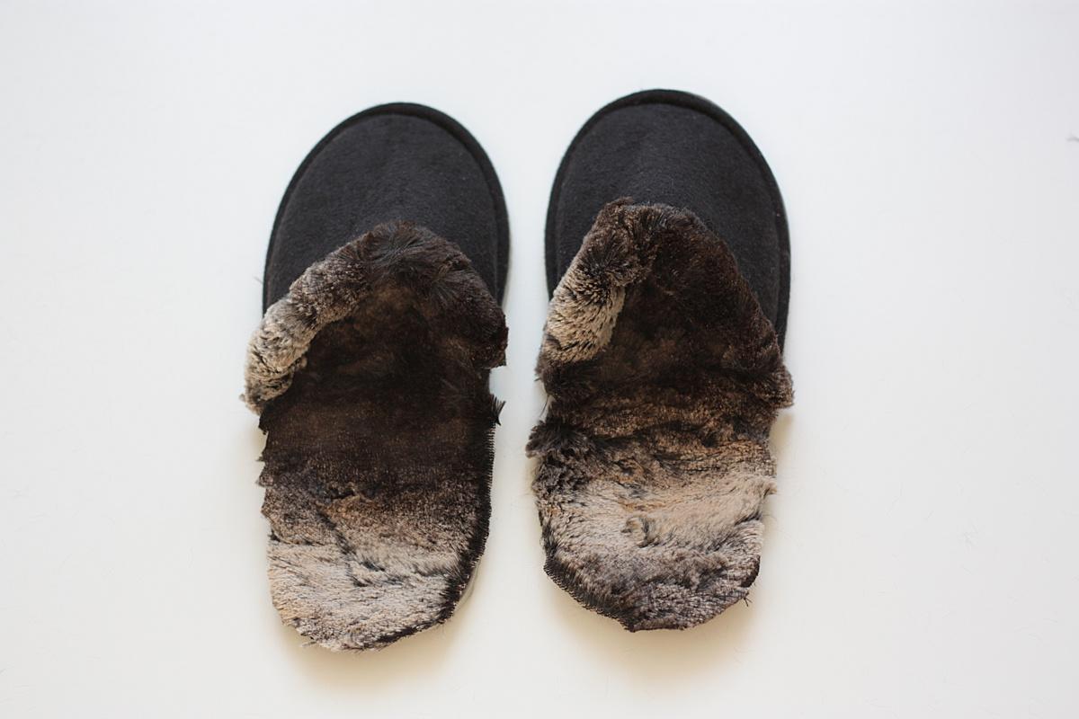 ikea hack faux fur slippers done