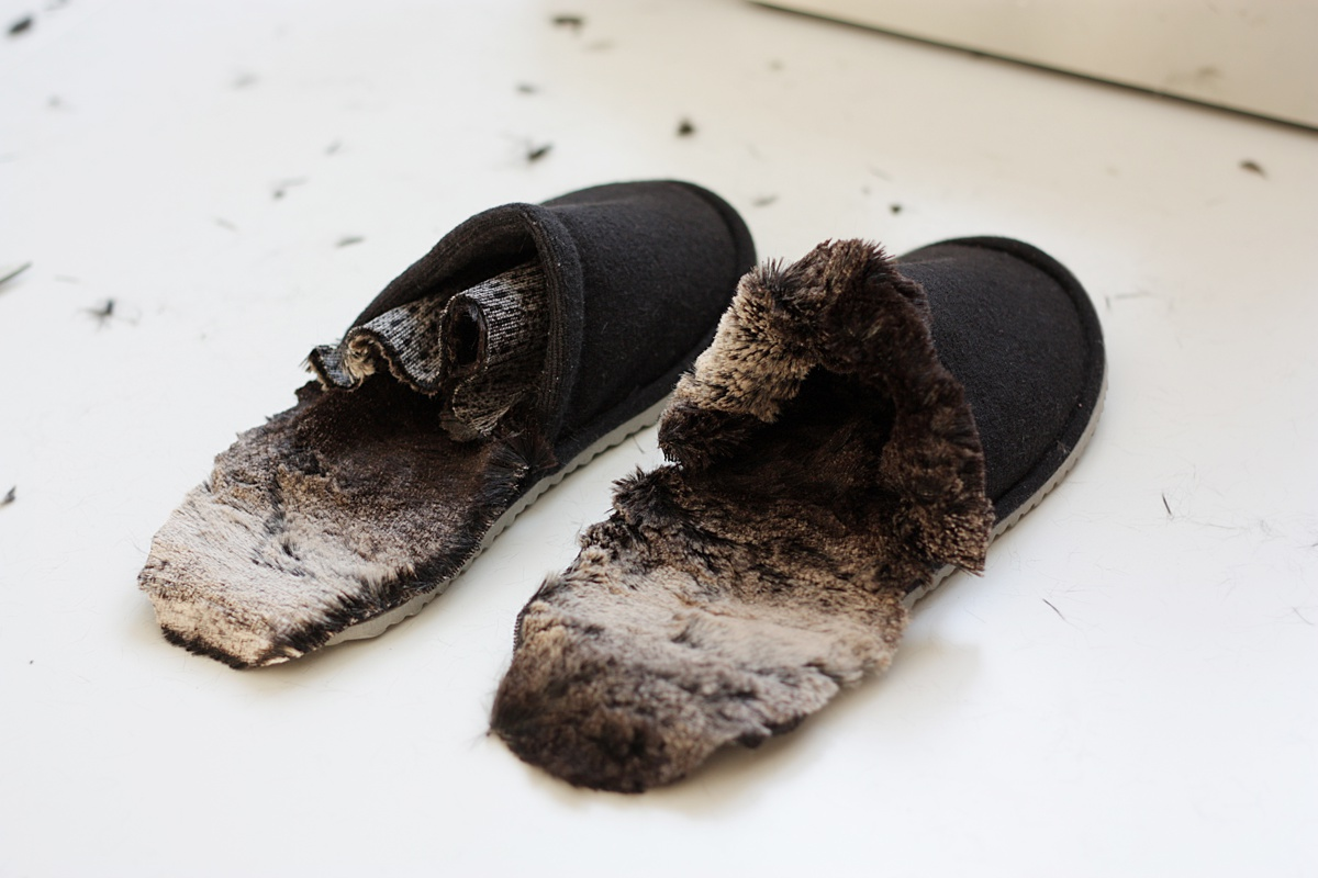 ikea hack faux fur slippers insert