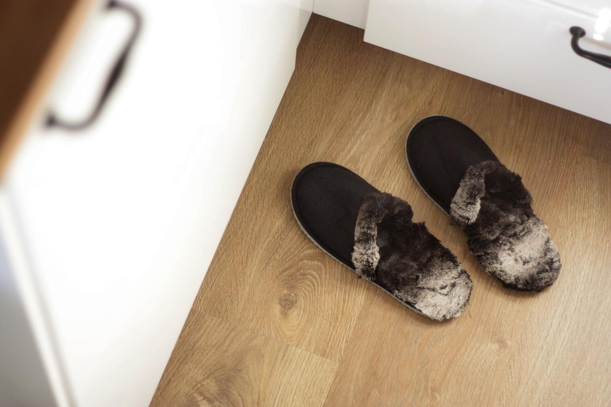 ikea hack faux fur slippers kitchen