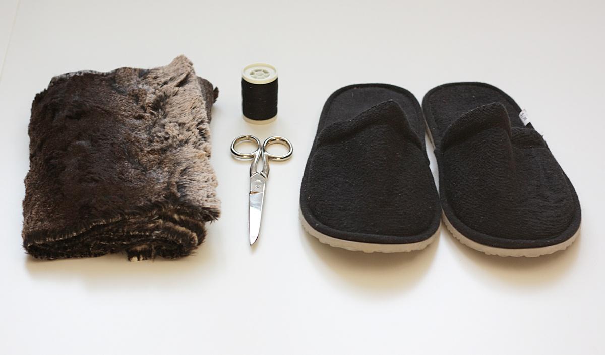 ikea hack faux fur slippers material