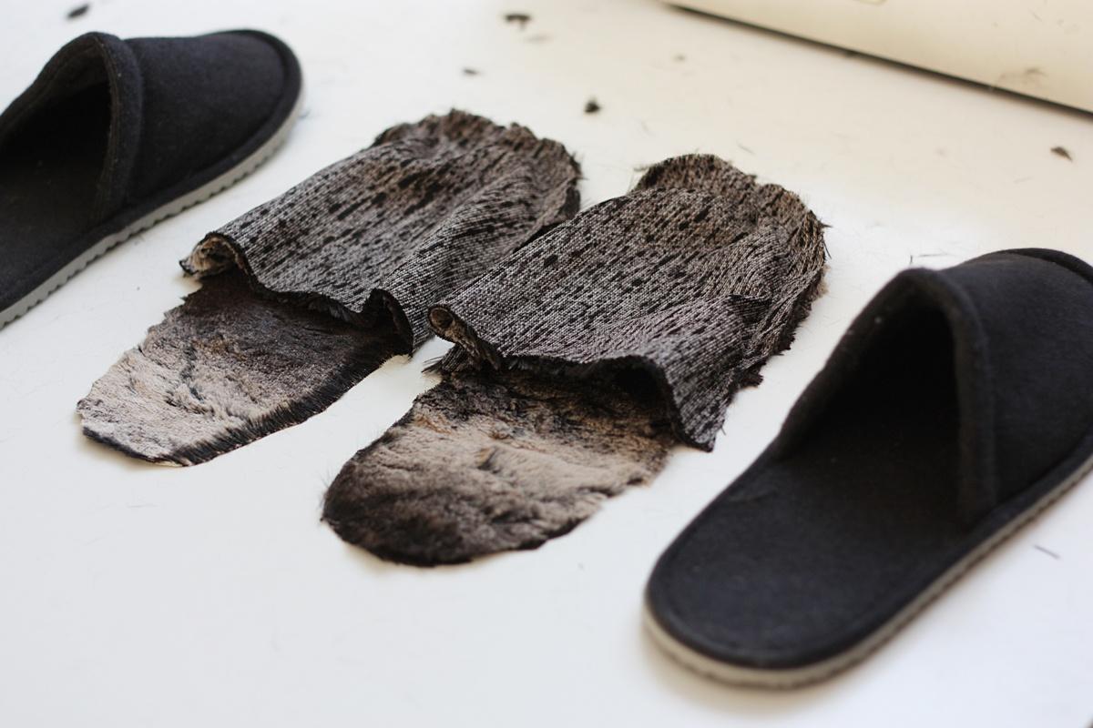 ikea hack faux fur slippers sew