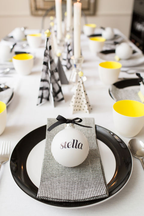 modern yellow black white christmas tablescape