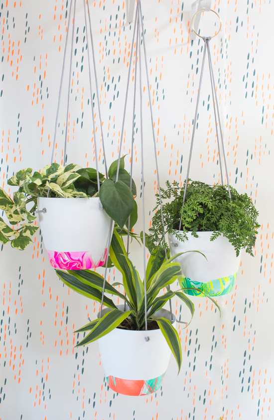 neon marbled plant pots