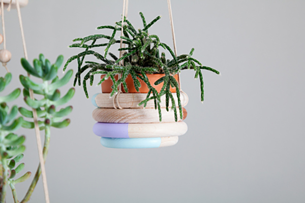 wooden ring planter