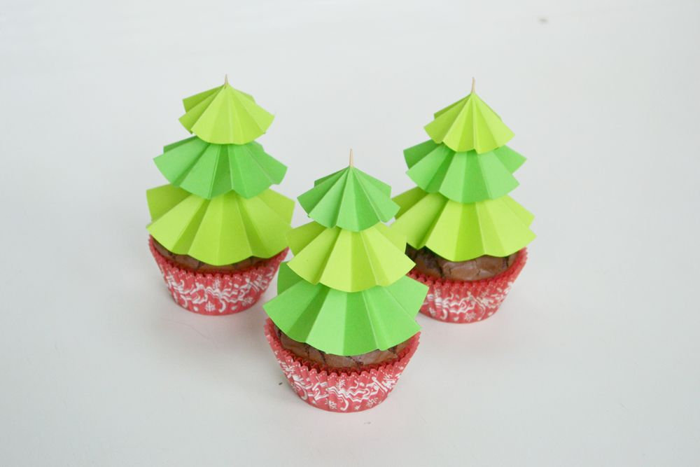 Christmas Tree Cupcake Toppers Decor