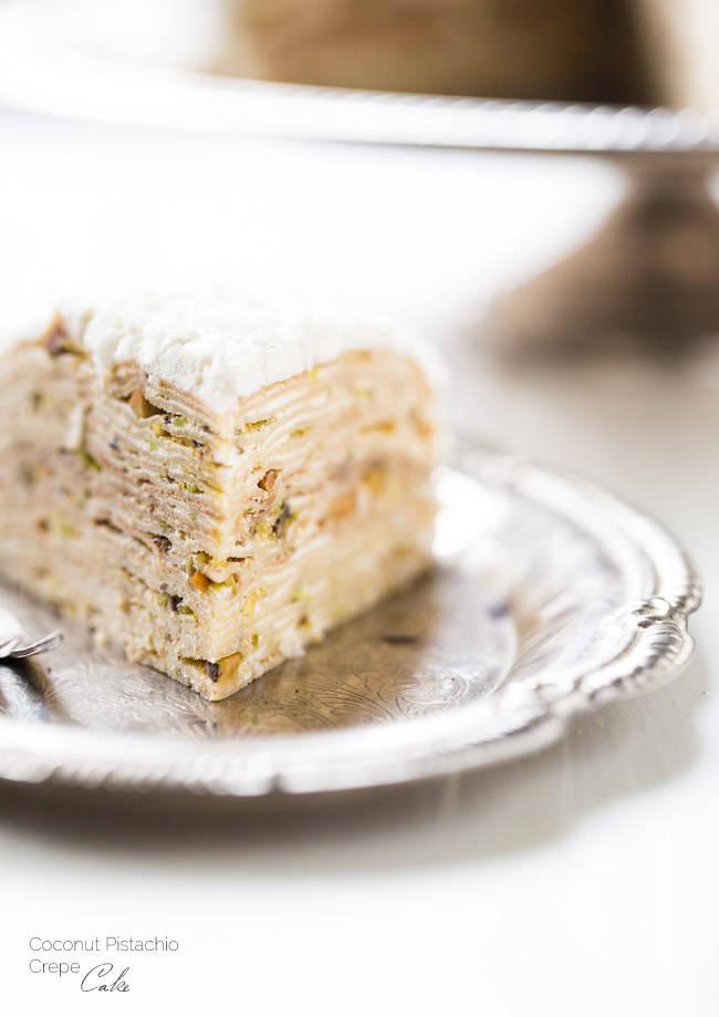 Coconut Crepe Pistachio Cake Recipe
