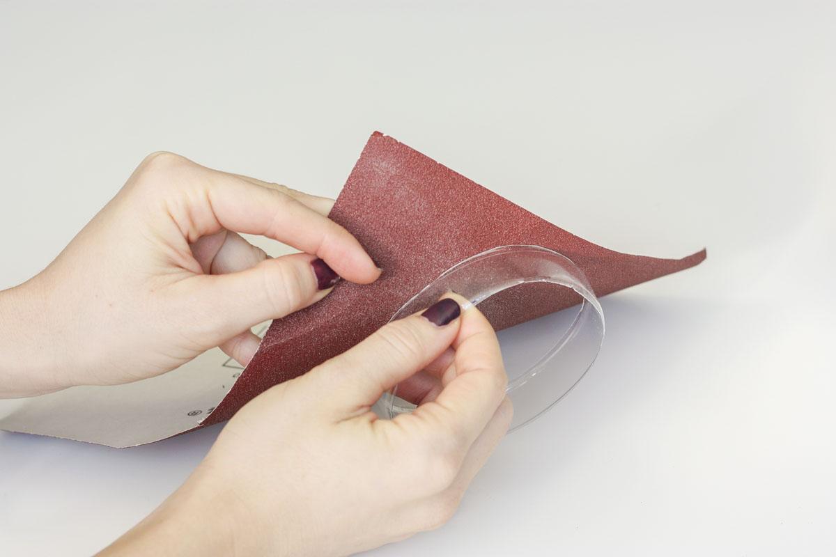 DIY bangs from plastic bottles sand paper
