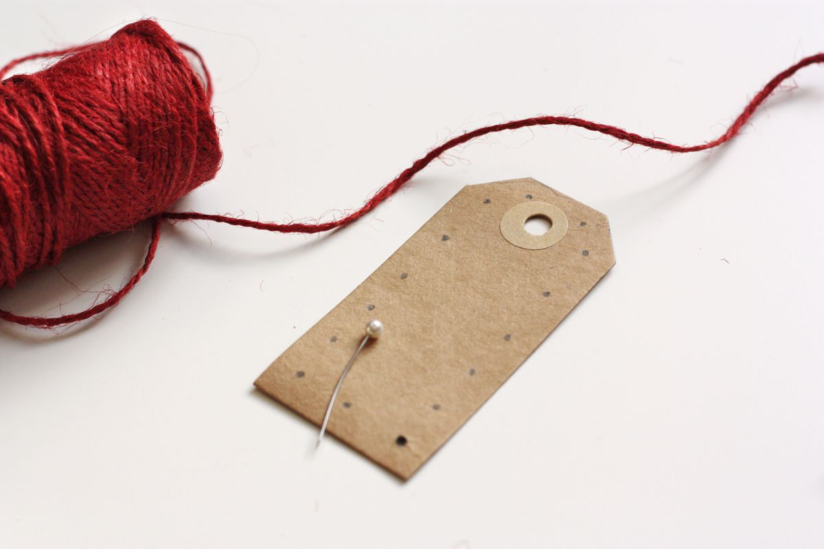 DIY gift tag embrodered holes
