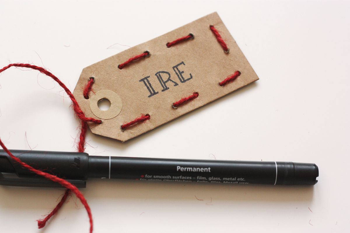 DIY gift tag embrodered write