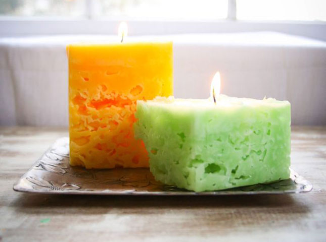 DIY recycled ice candles