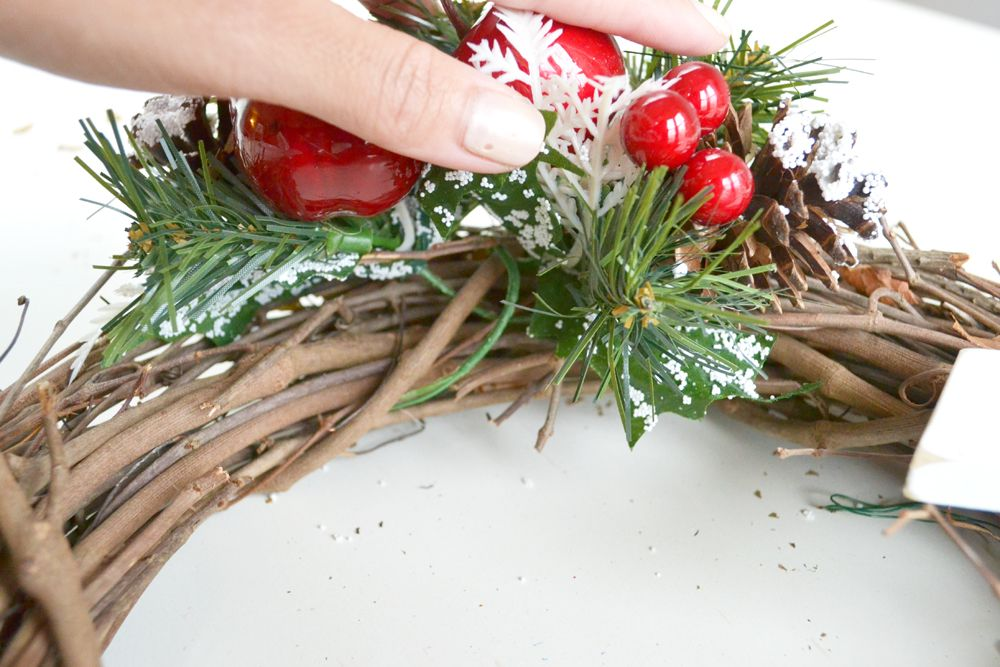 Joy Holiday Wreath -touch of red