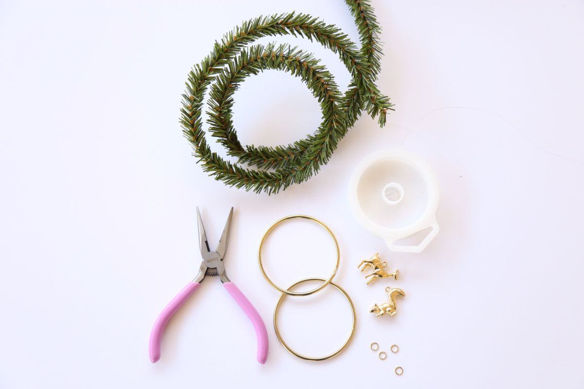 Materials to create a Charm Wreath Ornament