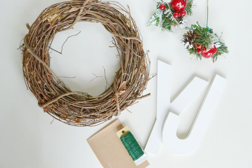 Materials to create a Joy Holiday Wreath