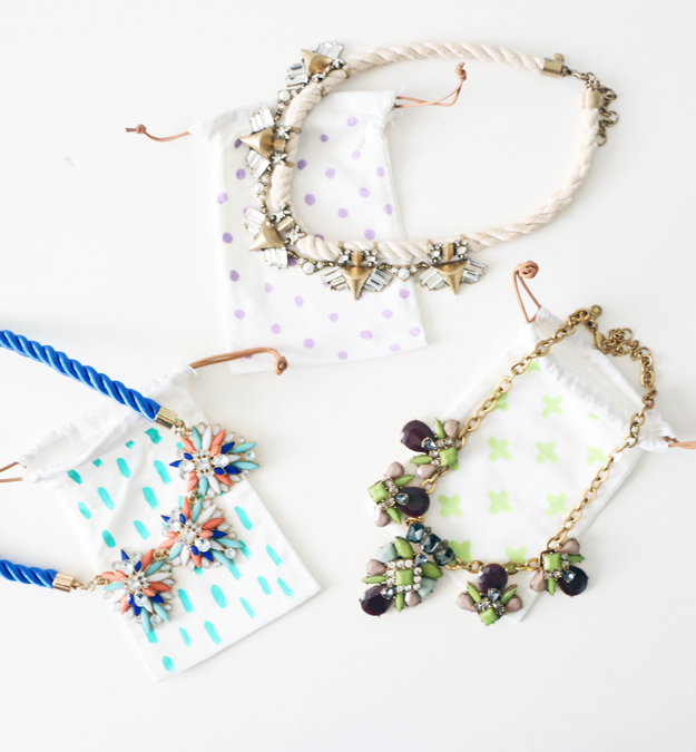 Materials to create colorful jewelry bags