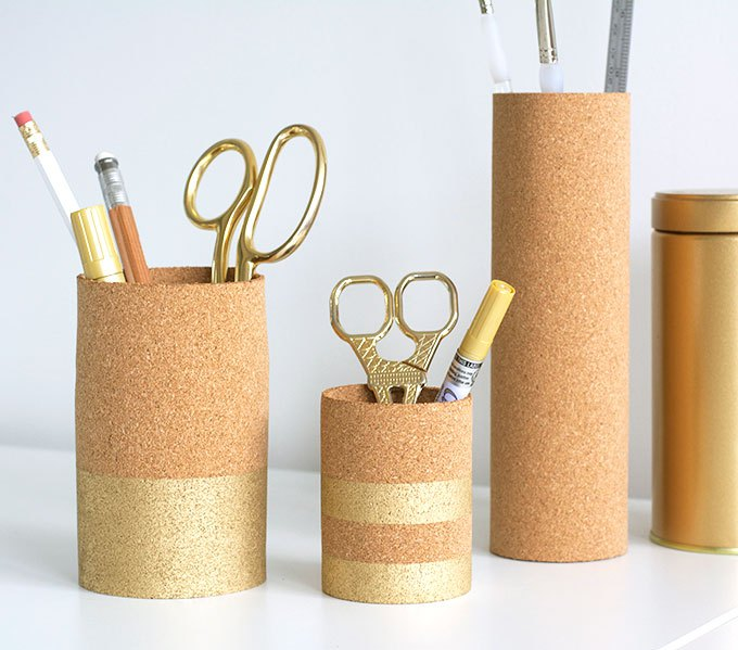gold cork pen cups