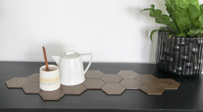 hexagon cork table runner